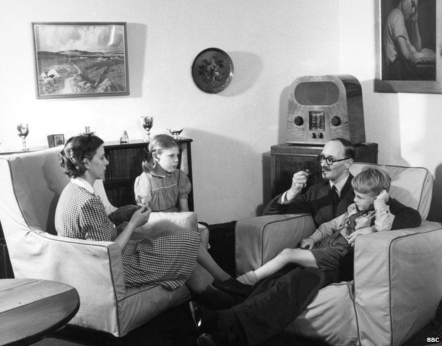 A family of BBC radio listeners in 1947