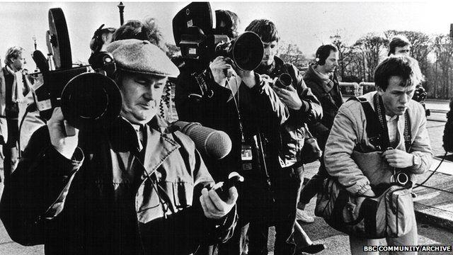 Cameramen were accompanied by soundmen when covering stories.