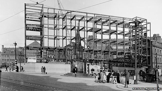 The steelwork during construction of Broadcasting House in 1939