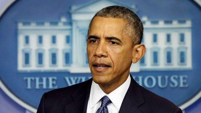 President Obama speaking at the White House