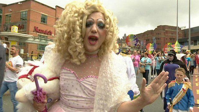 Reveller in Liverpool Pride parade
