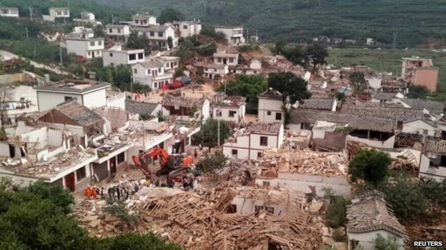 A general view shows collapsed houses after an earthquake hit Ludian county, Yunnan province