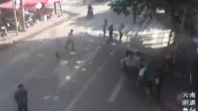 CCTV shows people running outdoors as the China quake strikes