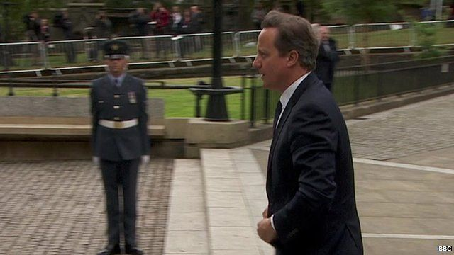 David Cameron arriving for WW1 memorial service in Glasgow Cathedral