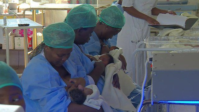 Mothers breastfeeding in South Africa