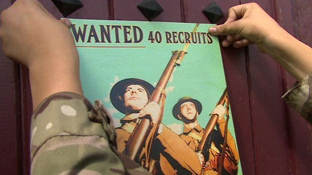 Re-creation of a 1914 wartime recruitment poster