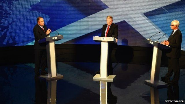 Alex Salmond (far left) debates with Alistair Darling in an event hosted by Bernard Ponsonby (centre)