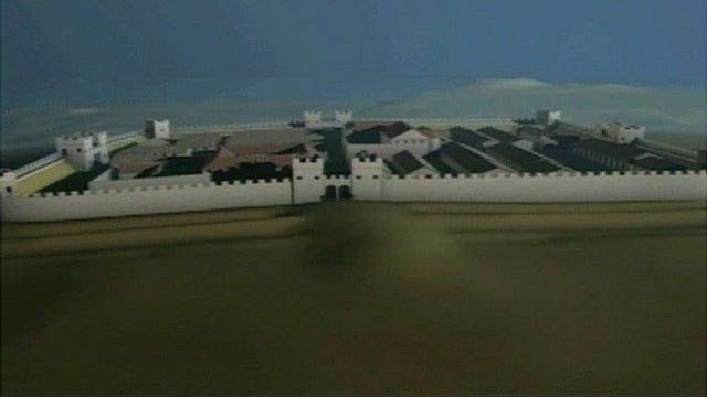 A CGI still of Segontium Roman fort
