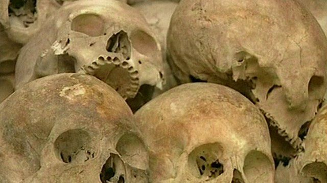 The skulls of some of those who died under the Khmer Rouge regime