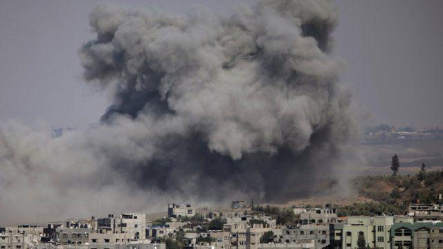 Smoke covers the skyline of Gaza
