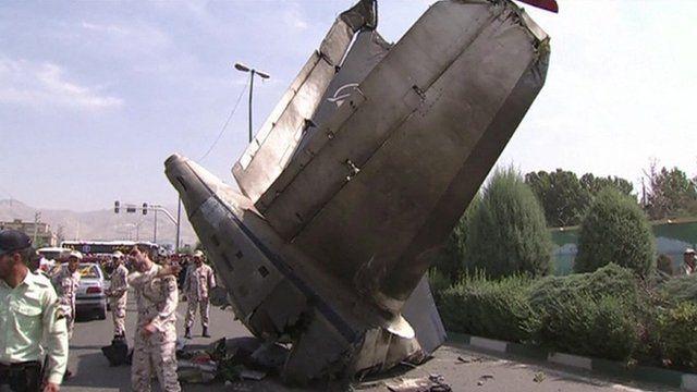 Plane debris on Iranian street