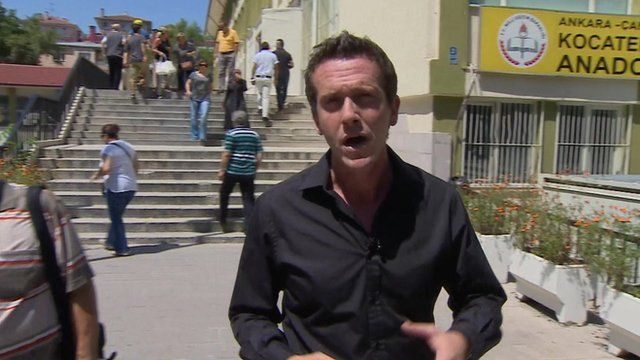Mark Lowen outside a polling booth
