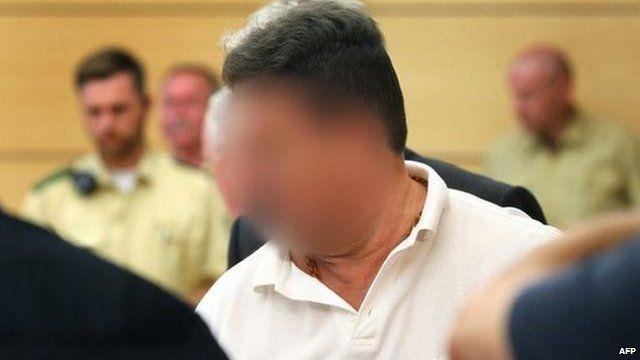 Michael Harry K in court in Wuerzberg (11 August 2014)
