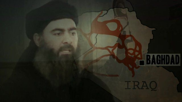 Image of Islamic State leader, Abu Bakr al-Baghdadi, superimposed on map of Iraq