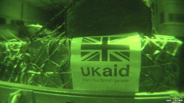 UK aid package in night vision on an RAF airplane