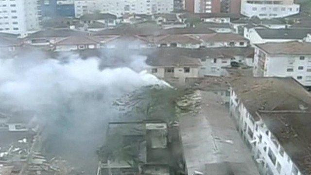 Smoke rising from plane crash site