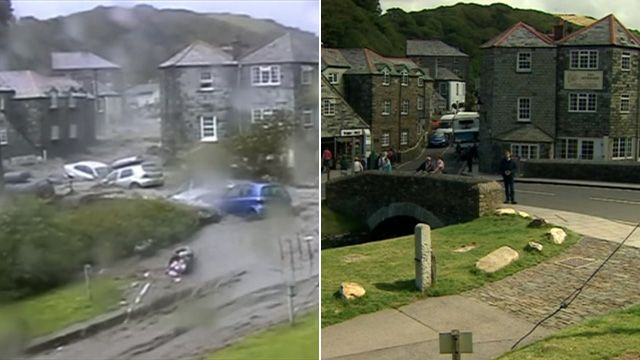 Boscastle seen in 2004 and 2014