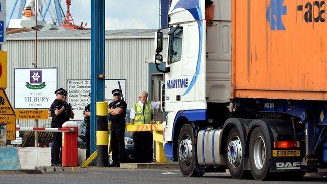 Police at Tilbury Docks