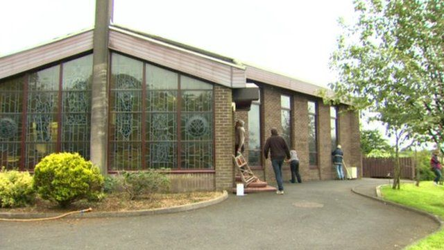 Parishioners at St Peter's Church in Stoneyford spent Saturday morning cleaning off sectarian graffiti