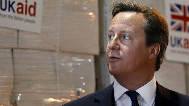 David Cameron at UK Aid Disaster Response Centre in August