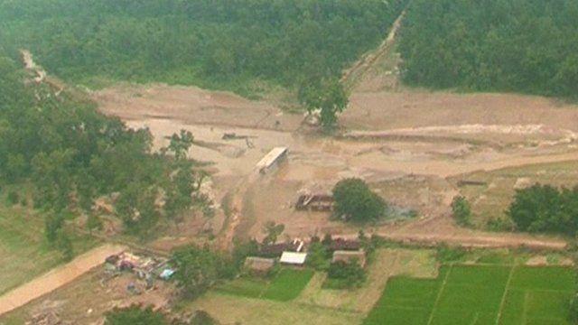 Aerial shot of flooding in Kathmandu