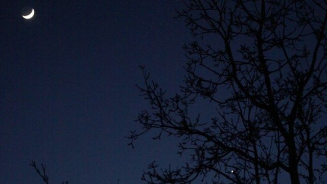 The Moon, with Jupiter and Venus in conjunction at the bottom right, in 2012