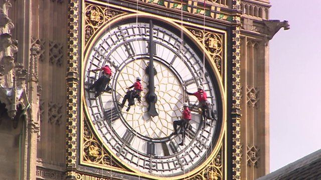 Big Ben's clock face being cleaned