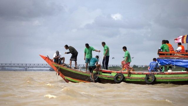 A boat being used in the search
