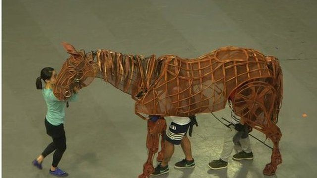 A scene from the War Horse rehearsals in Beijing