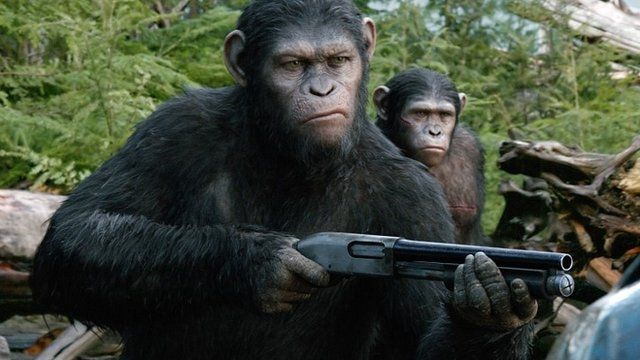 "Andy Serkis as Caesar in a scene from the film ""Dawn of the Planet of the Apes"""