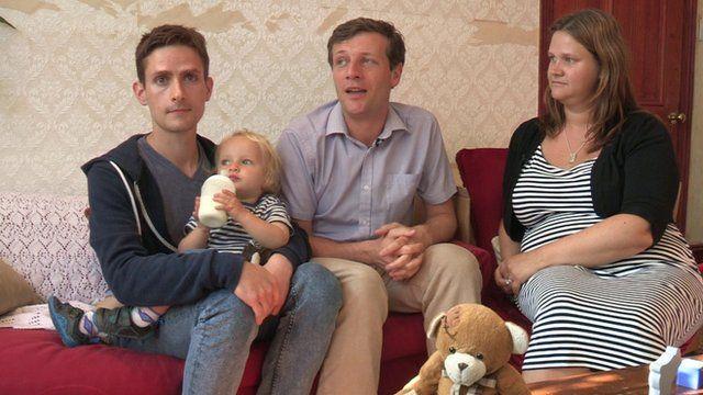 Nick and Michael Scott-Kline, son Elliot and surrogate mother Sarah Jones