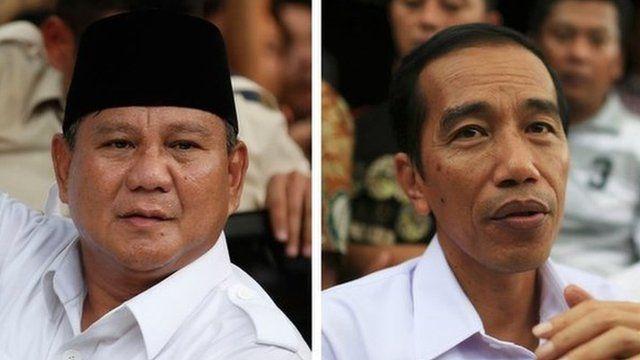 Combination image shows Indonesian presidential candidates Prabowo Subianto (L) and Joko Jokowi Widodo