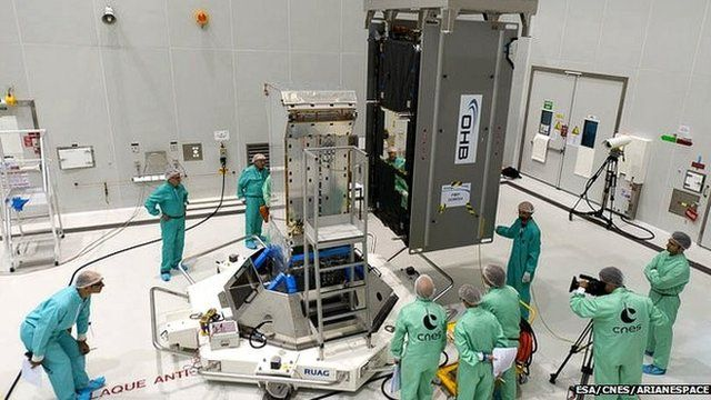 Technicians prepare one of the Galileo satellites for this month's launch
