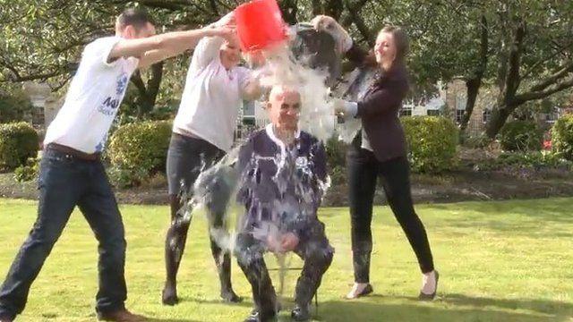 Alistair Darling doing the ice bucket challenge