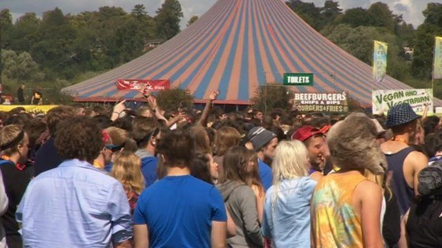 Revellers gather at Reading Festival