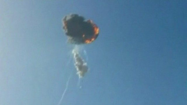 The SpaceX Falcon 9 rocket exploding