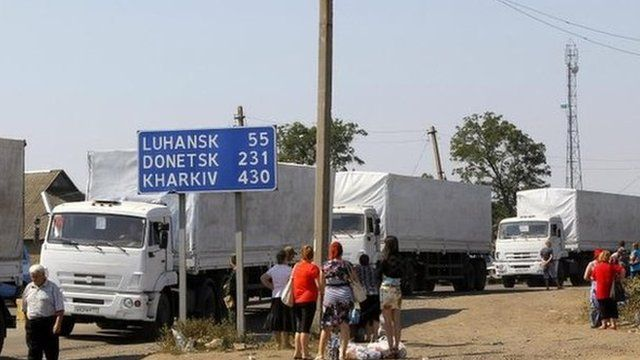First Russian aid convoy returns, 23 Aug