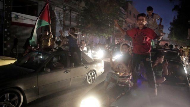 Palestinians celebrate ceasefire in Gaza City