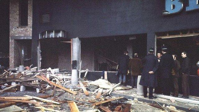 Scene after the 1974 Birmingham pub bombings