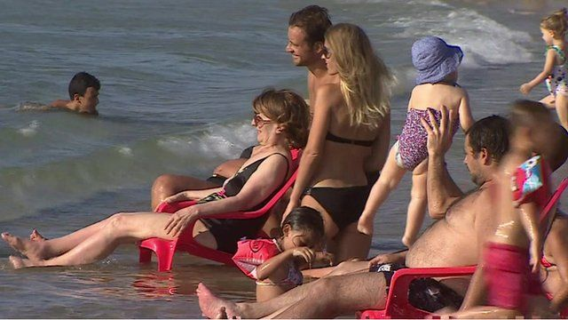 People on a Israeli beach