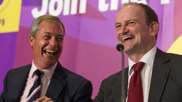 Former British Conservative Party MP Douglas Carswell (R) addresses a press conference in central London on August 28, 2014, with UKIP Party leader Nigel Farage (L)