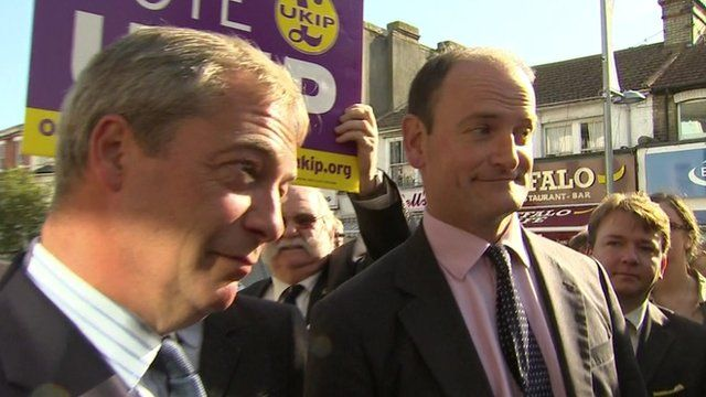 Nigel Farage and Douglas Carswell in Clacton 29 Aug 2014