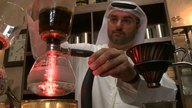 Khalid Al Mulla making coffee