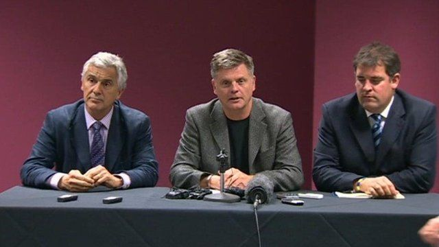 (Left) Newport Gwent Dragons chief executive Gareth Davies, (centre) Mark Davies, chief executive Regional Rugby Wales, (right) Richard Holland, chief executive Cardiff Blues