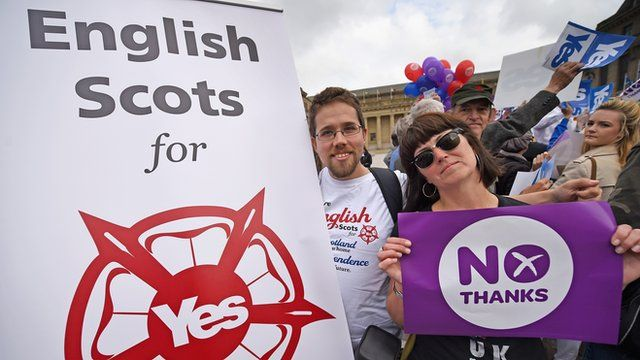 Two campaigners for the yes and no campaigns in the Scottish Independence debate