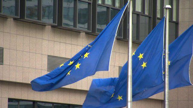 EU flags flying