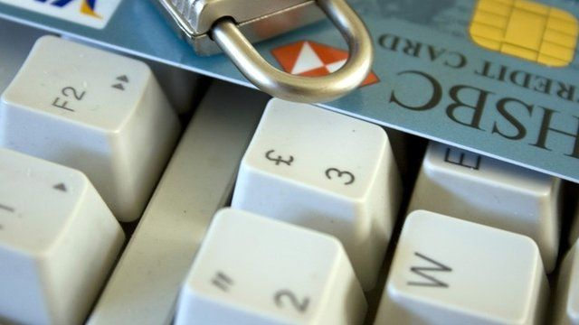 Keyboard with bankcard on it