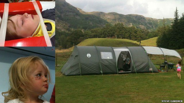 Lily and Oliver (left) and tent (right)