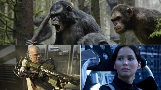 A composite of images from Dawn of the Planet of the Apes, Hunger Games: Catching Fire and Elysium