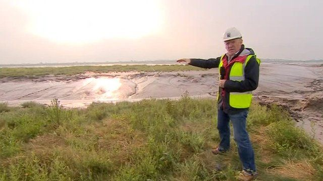 BBC reporter John Maguire at the Steart Peninsula